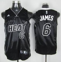 b65a019a0f1 Adidas NBA Miami Heat 6 LeBron James Swingman Black White Number Jerseys  Chris Bosh