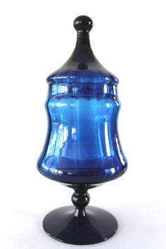 "Mid Century Italian Empoli Glass Apothecary ""Coblat"" Blue  Ribbed Optic Design"