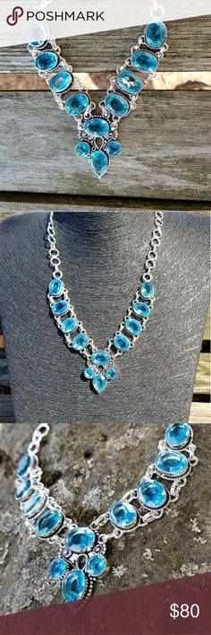 NEW! Blue topaz necklace Stunning design of 925 Sterling silver and faceted blue topaz, 20 inches long. NWOT Robin's Nest Jewels Jewelry Necklaces