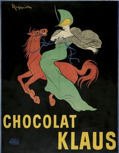 Leonetto Cappiello (1875-1942), 1903, Chocolat Klaus, Vercasson, Paris. Cappiello's poster for Chocolat Klaus was a benchmark image for the artist and revolutionary for his career and poster advertising in general.