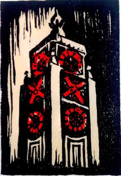 Oxo Tower, woodcut by S.Short
