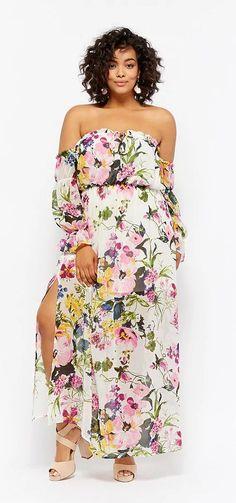 Plus Size Floral Off-the-Shoulder Maxi Dress
