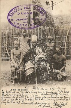 "Vintage postcard, before 1904. Caption ""The King of Sakete"", Benin Republic."