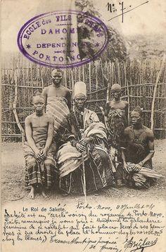 "Vintage postcard, before 1904. Caption ""The King of Sakete"", Benin Republic."