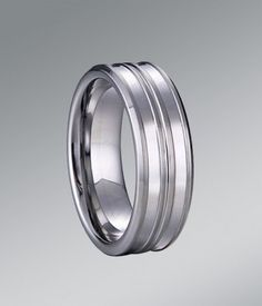 An alluring and sophisticated look for Grooved and Brushed Tungsten Carbide Wedding Band - 8MM