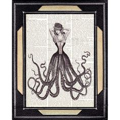 Dictionary art print OCTOPUS WOMAN Victorian fashion marine nautical sea fantasy black white vintage book page  8x10 on Etsy, $10.00