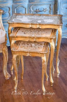 Gorgeous vintage Italian Florentine nesting tables, a set of three. These are authentic, vintage Florentine tables, made of lightweight wood, and