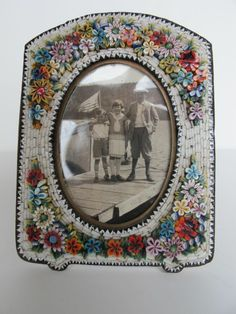 Antique Micro Mosaic Picture Frame with Raised Flowers