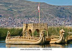 Reed Islands Peru | Reed Boat At Floating Islands Near Puno, Peru Stock Photo 49291240 ...