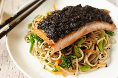 For anyone who loves salmon, you are bound to love this recipe! Bursting with fresh flavours of the sea, served on a bed of ginger-flavored soba noodles.