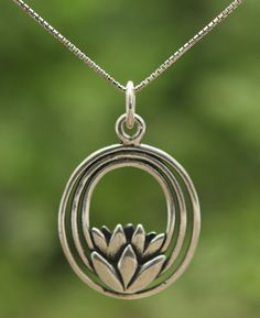 Lotus flower pendant made of sterling silver by artists in Thailand. Buddhist jewelry available at BuddhaGroove.com. @jennarae51 ?