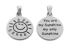 """Sterling Silver """"You are my Sunshine my only Sunshine"""" Necklace Small (18"""" chain…"""