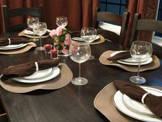 Keep It Simple ~     Even if you don't have an expert eye for color, you can easily create a classy setting for your party with a monochromatic color palette. Try using dinnerware and decor in shades of brown for a warm, inviting atmosphere.