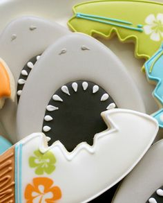 Shark week cookies.  Thanks so much sweetsugarbelle.com.  Such a wonderful site with fabulous ideas!!