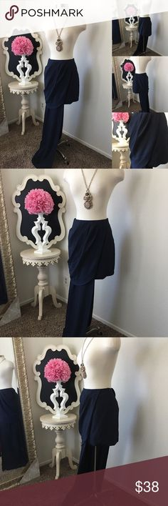 """🌺No Label  Gorgeous Navy Mini Skirt w/Side Design 🌺No Label  Gorgeous Navy Mini Skirt w/Side Design  Left Side Has Asymmetrical Detail - Front Pleated Style- Side Zipper  $68 - New  Size: Small  Waist : is Aprox 28"""" Fabric : Polyester  🌺 Accessories Not Included But Are also for Sale  Please Check out my Other Items in my GIRLe B Posh Shoppe'  Like us on FB   www.facebook.com/girleboutique Thanks For Looking & Always Let your Clothes get All the Attention 💋 ❌⭕️, Christina GIRLe Boutique…"""