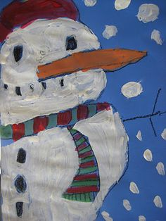 snowman with tempera