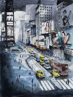 "Etsy.  Original painting ""Time Square"" - New York. Watercolor on paper. By Nicolas Jolly."