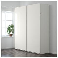 IKEA - PAX Wardrobe white, Hasvik high-gloss/white