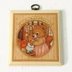 Vintage Hallmark Plaque Mommy & Baby Boy Bear by ThriftyTheresa