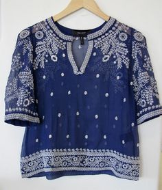 Found on OhLike: Isabel Marant Leane Embroidered Top Bohemian Mode, Boho Chic, Sheer Shirt, Sheer Blouse, Crop Blouse, Crop Shirt, Blue Blouse, Diy Vetement, Look Fashion
