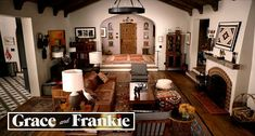 """Taking a closer look inside Robert and Sol's Spanish Colonial house on the Netflix show """"Grace and Frankie"""" and how the sets were designed. Spanish Tile Roof, Spanish Colonial Homes, Real Wood Floors, Real Kitchen, Buying A New Home, Architectural Digest, Living Area, Living Room, Beach House"""