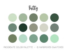 Patty Palette | Procreate Color Palette | Shades of Green | iPad App Custom Palette | Swatches | Lettering | Brushes | Tools | St Patricks