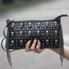 2013 women's skull bag personalized female clutch ghost head bag female messenger bag rivet bag women's handbag