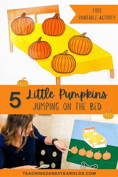 Looking for some pumpkin fun during circle time? Download the free printable to make your own 5 Little Pumpkins prop set! #pumpkins #circletime #fingerplay #music #toddlers #preschool #2yearolds #3yearolds #teaching2and3yearolds