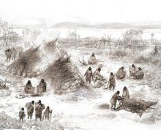 Tegning af, hvordan folket har levet i Alaska for 11.500 år siden. Fund i udgravningen viser, at menneskene boede i hytter, der var delvist nedgravede, og at man bl.a. levede af hjorte og laks. (Tegning: Eric S. Carlson og Ben Potter)