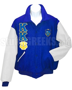 Phi Sigma Sigma Varsity Letterman Jacket with Greek Letters and Crest, Royal Blue/White-Royal Blue Phi Sigma Sigma Letterman Varsity Jacket with white sleeves, the Greek letters down the right, and the crest on the left breast. Kappa Kappa Psi, Alpha Phi Omega, Phi Sigma Sigma, Delta Phi, Alpha Sigma Alpha, Fraternity Shirts, Sorority And Fraternity, Varsity Letterman Jackets, Sorority Outfits
