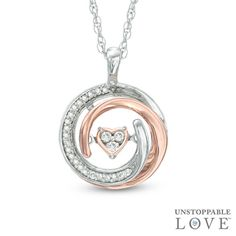Unstoppable Love™ 1/10 CT. T.W. Diamond Heart Whirl Pendant in Sterling Silver and 10K Rose Gold