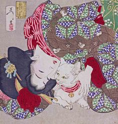 """inland-delta: """"Tsukioka Yoshitoshi, A young woman from Kansei period playing with her cat(detail), 1888 """" Japanese Artwork, Japanese Painting, Funny Cats, Funny Animals, Cat Brain, Japanese Artists, Funny Animal Pictures, Japanese Girl, Asian Art"""