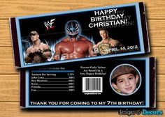 WWE Wrestling Party Favors  Custom You Print by designsanddecors, $15.00