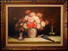 Flowers in porcelain vase (oil on canvas painting)  Painter: W.Maguetas