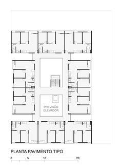 2º Lugar no concurso CODHAB-DF para edifícios de uso misto em Santa Maria,Planta Baixa - Pavimento Tipo