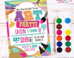 Art Party Invitation Art Party Art Birthday Invitation Art
