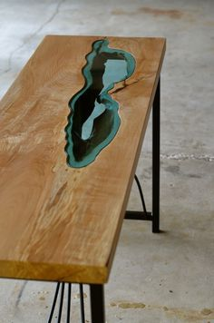 """a celebration of nature's """"flaws""""love this table!it has so much life and movement49"""" x 15"""" x 29""""maple, glass, steel"""