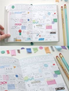 Washi stickers - using Washi to spice up your calendars and memo books. Nice since you can write over top of it. Any Washi will work. Life Planner, Happy Planner, Planner Ideas, Journal Inspiration, Midori, Washi Tape Crafts, Washi Tapes, Idee Diy, Day Planners