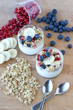 #healthy food#healthy eating!!!# Parfaits food blueberry yogurt healthy food banana healthy eating oats parfait