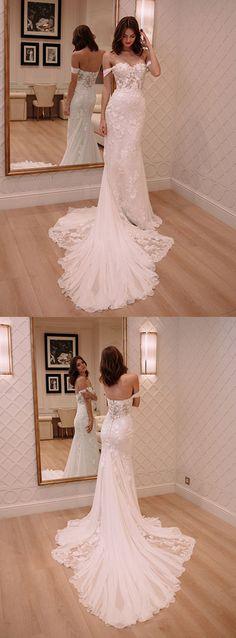 mermaid off shoulder wedding dresses with appliques train, fashion formal wedding gowns.