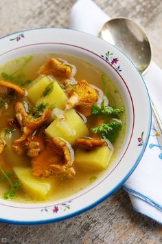 Vegetable Bouillon Soup with Chanterelle Mushrooms