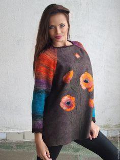 """Купить Свитер валяный """"МАКИ"""" - свитер женский, свитер с рисунком, авторская ручная работа"""