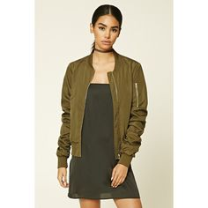 Forever21 Ruched Bomber Jacket ($28) ❤ liked on Polyvore featuring outerwear, jackets, olive, bomber jacket, brown bomber jacket, olive green bomber jacket, brown jacket and green military jacket