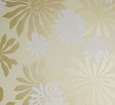Fleur Wallpaper in Cream with Gold