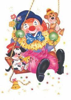quenalbertini: Clown on a swing Circus Art, Circus Clown, Cartoon Images, Cartoon Kids, Clown Mignon, Mardi Gras, Illustrations, Illustration Art, Clown Fancy Dress