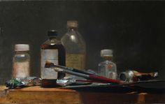 """Christophe Thiry - """"Les armes du peintre"""", Huile sur toile, 46 x 65 cm."""