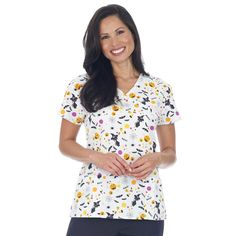 Mock Wrap Scrub Top with Contrast Trim - SCARY SWEET