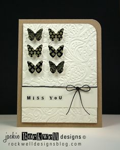 lovely handmade card ... luv the embossed panel with a smoothe band for the sentiment ...