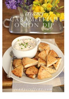 Caramelized Onion Dip with toasted pita