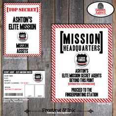 Spy Party - Secet Agent Party - Customized ID Badges - Printable (Birthday Party)